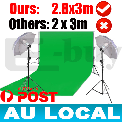 3x6m-Chromakey-green-screen-background-lighting-stand-kit-2x-125w-bulb-umbrella