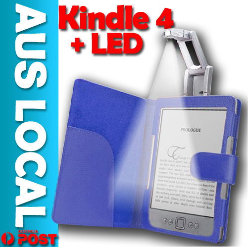 Luxury-Leather-Case-Cover-Wallet-with-Light-for-Amazon-Kindle-4-4th-AUS-Local
