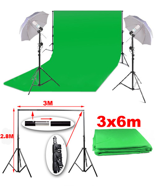 kit studio photo support de fond tissu de fond vert 3x6m lumi res parapluies ebay. Black Bedroom Furniture Sets. Home Design Ideas