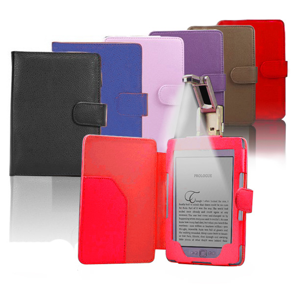 Multi-colour-Leather-Case-Cover-wallet-with-reading-Light-For-Amazon-Kindle-4-5