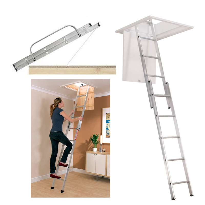 Telescoping Attic Ladder : Multi purpose aluminium telescopic ladder loft attic