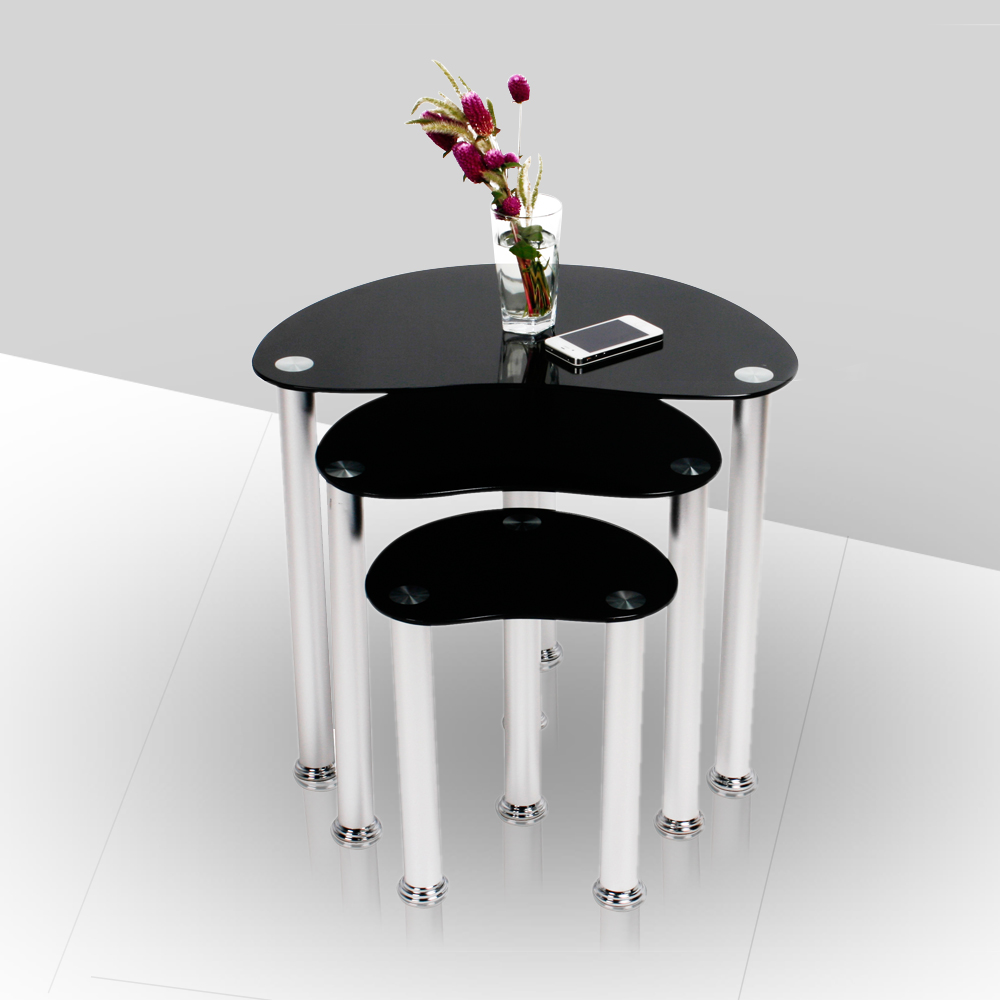 Black Coffee Table Nest: Nest Of 3 Black Coffee Tables Safe Tempered Glass Oval