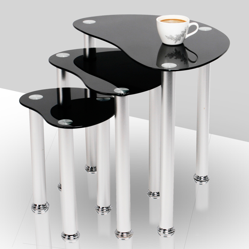 Black Coffee Table Nest: NEW NEST OF 3 COFFEE TABLES SIDE END TABLE TOP BLACK GLASS
