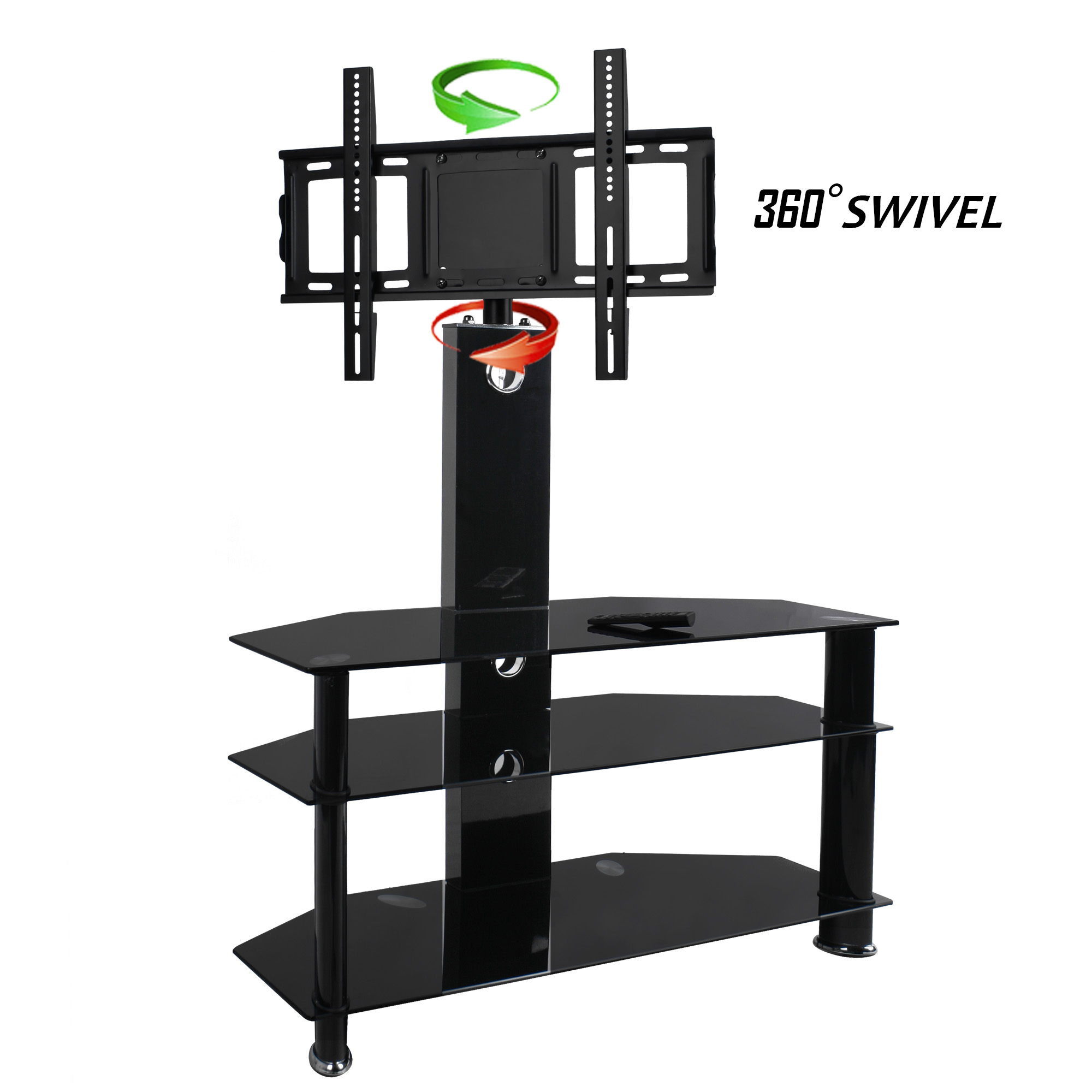 black glass tv stand with tv bracket mount corner swivel 180 30 to 60 inch 06 ebay. Black Bedroom Furniture Sets. Home Design Ideas