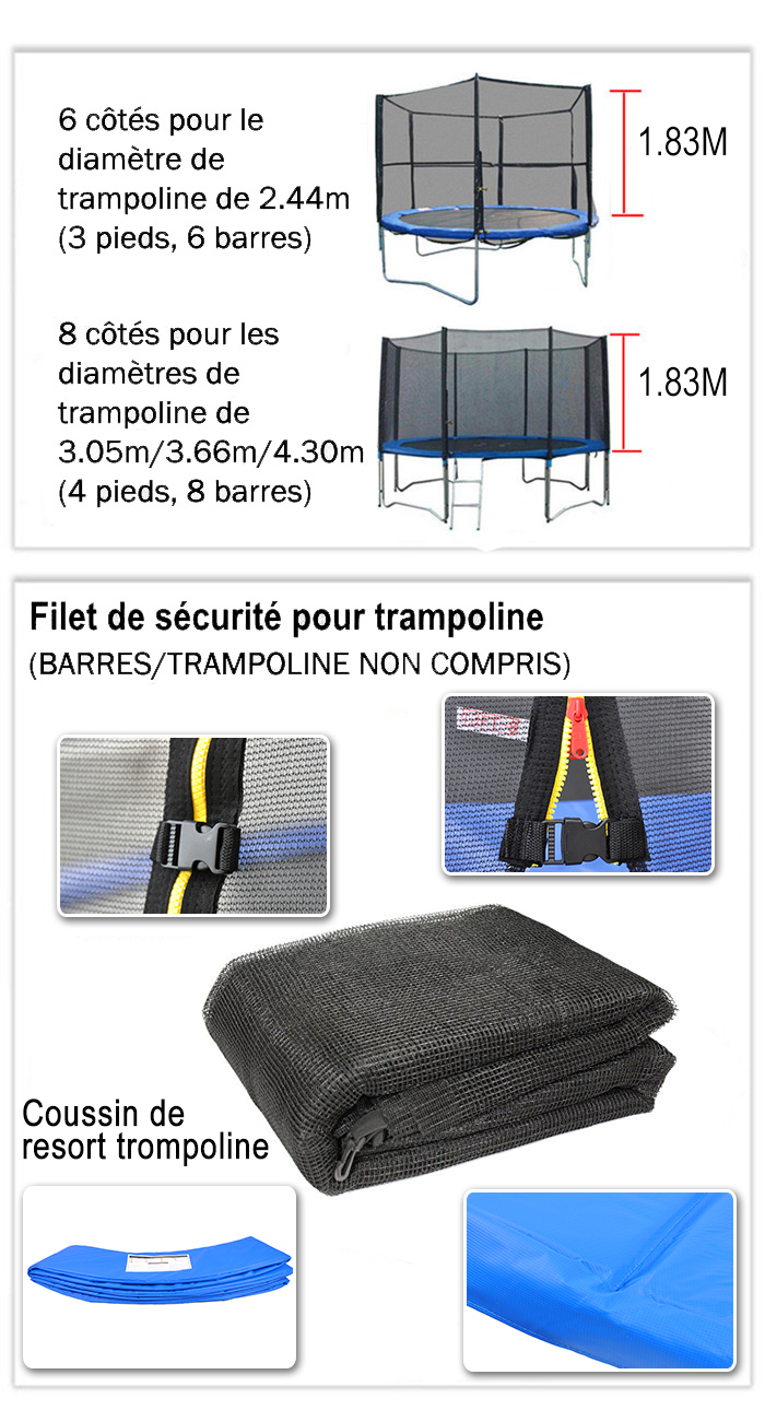 filet de s curit pour trampoline 2 44m 6 manches 3 05m 3. Black Bedroom Furniture Sets. Home Design Ideas