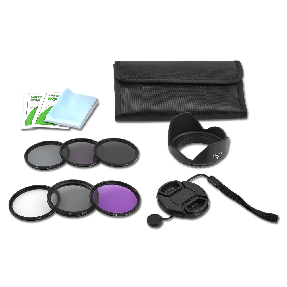slim 52mm lens filter kit uv cpl fld nd 2 4 8 pouch for. Black Bedroom Furniture Sets. Home Design Ideas